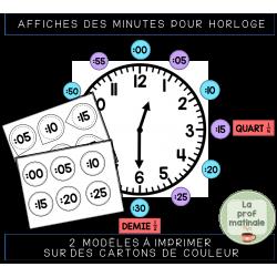 Affiches des minutes pour horloge de classe