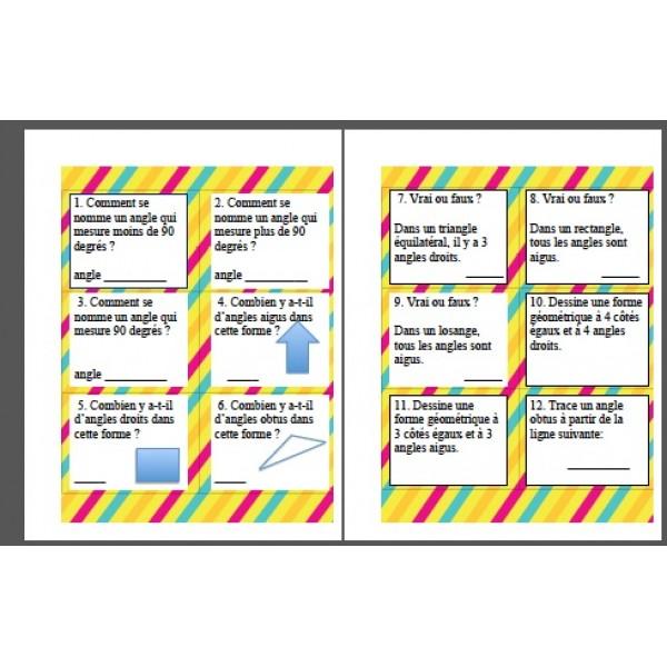 Cartes à tâche (atelier) sur les types d'angles