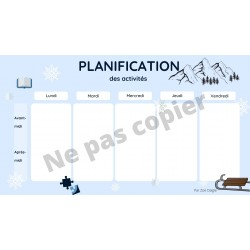 Planification de la semaine (Thème hiver)