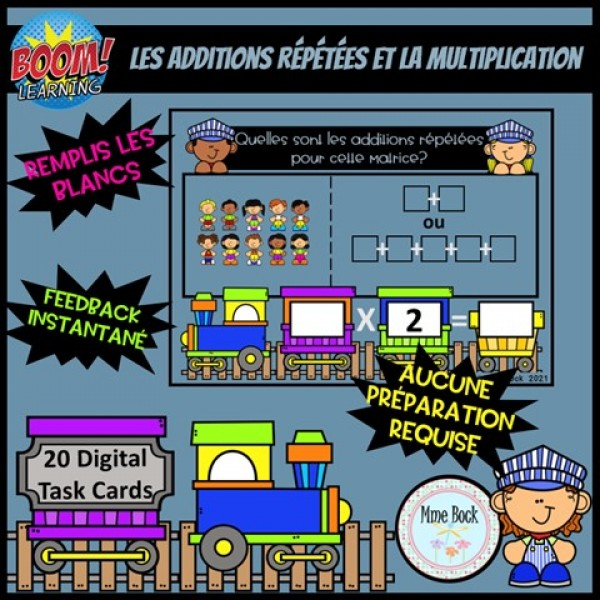 Cartes BOOM: Additions répétées et multiplication
