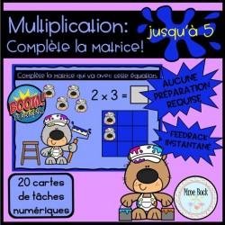 Cartes BOOM: Multiplication, Complète les matrices