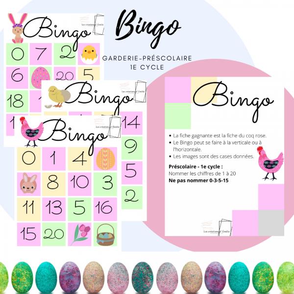 Bingo - pâques (chiffres de 0 à 20)