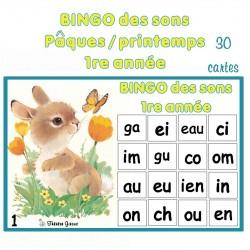 Bingo des sons 1re année Pâques / printemps