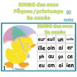 Bingo des sons 2e année Pâques / printemps