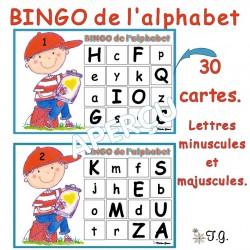 BINGO de l'alphabet - majuscules et minuscules