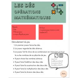 Les dés ; les opérations mathématiques