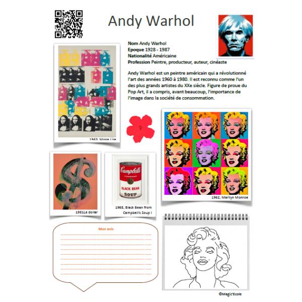 Fiche artiste Andy Warhol