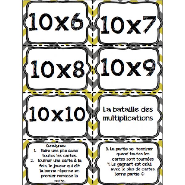 Cartes à tâches : bataille des multiplications