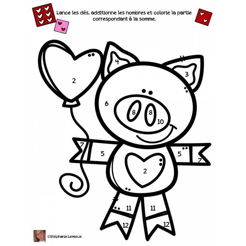 Coloriage addition st valentin - Coloriage st valentin ...