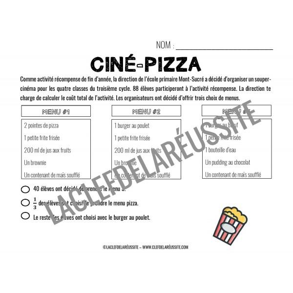 Ciné-pizza - Résolution de problème