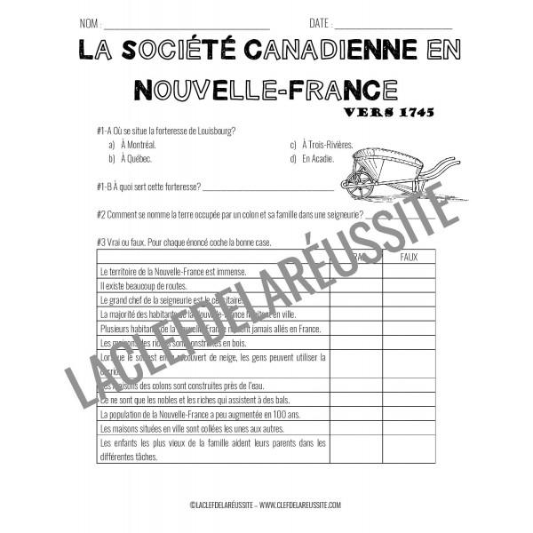 Société canadienne en N-F 1745 - 4e année