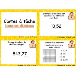 Nombres décimaux (Cartes à tâche)