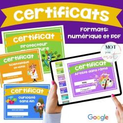 Certificats de mérite fin d'année (40+)