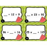 Cartes à tâches : Terme manquant (x et ÷)