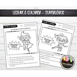 Lecture à colorier : Superhéros