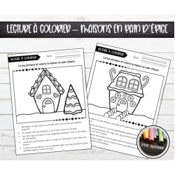 Lecture à colorier : Maisons en pain d'épice