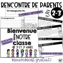Documents pour la rencontre de parents