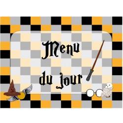 menu du jour Harry Potter avec terminologie