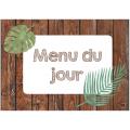 menu du jour épuré thème feuillage, bois, plantes