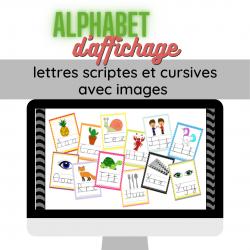 Alphabet mural script et cursif