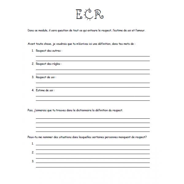 Module ECR respect et estime de soi