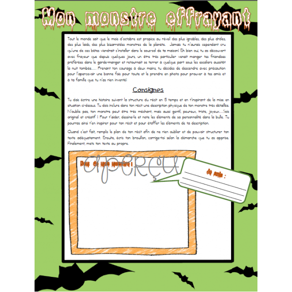 Écrit Halloween - Mon monstre effrayant