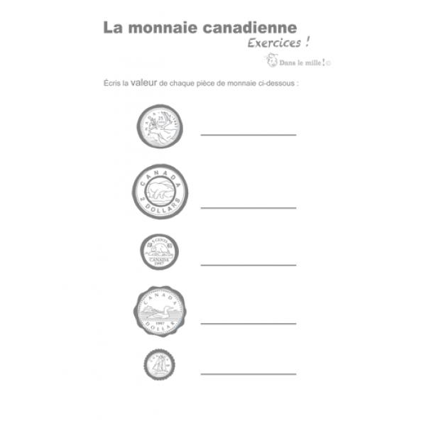 Exercices la monnaie canadienne