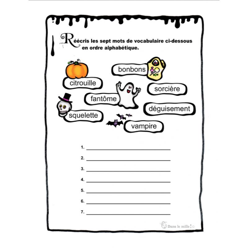 Exercices Francais Vocabulaire De L Halloween