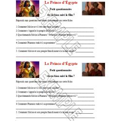 Questionnaire sur le film ''Le prince d'Égypte''
