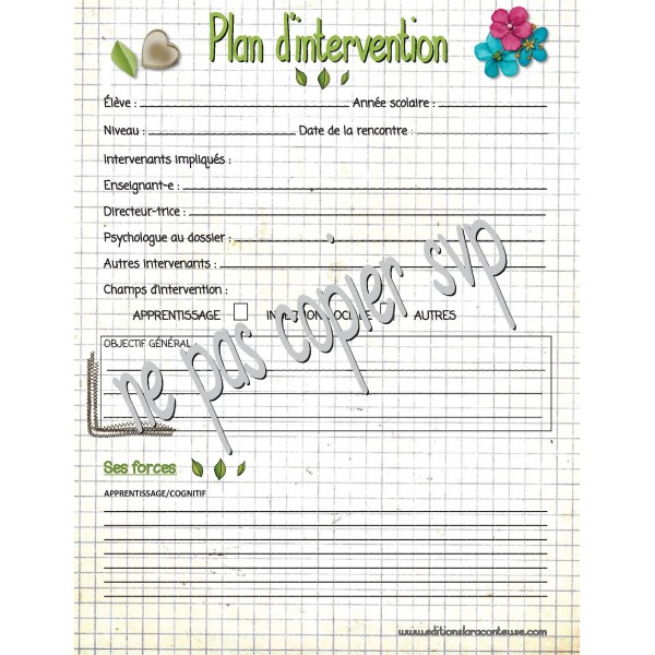 Plan d'intervention vierge
