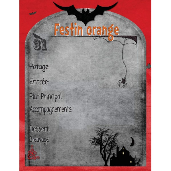 Écriture Halloween:composer menu orangé santé