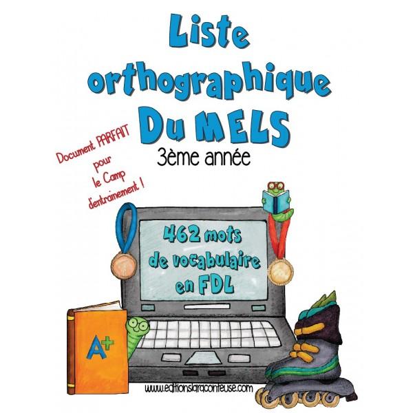 Liste orthographique en  FDL 3ème année