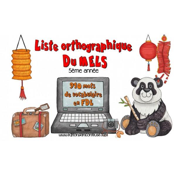 Liste orthographique en  FDL 5ème année