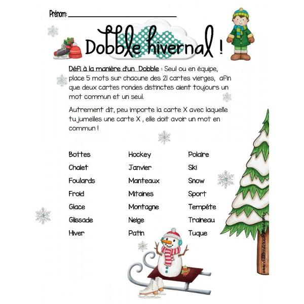 Crée ton Dobble hivernal à  21 mots !