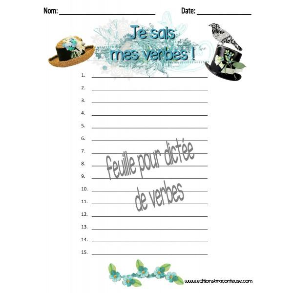 4 Feuilles vierges pour dictées de verbes (test)