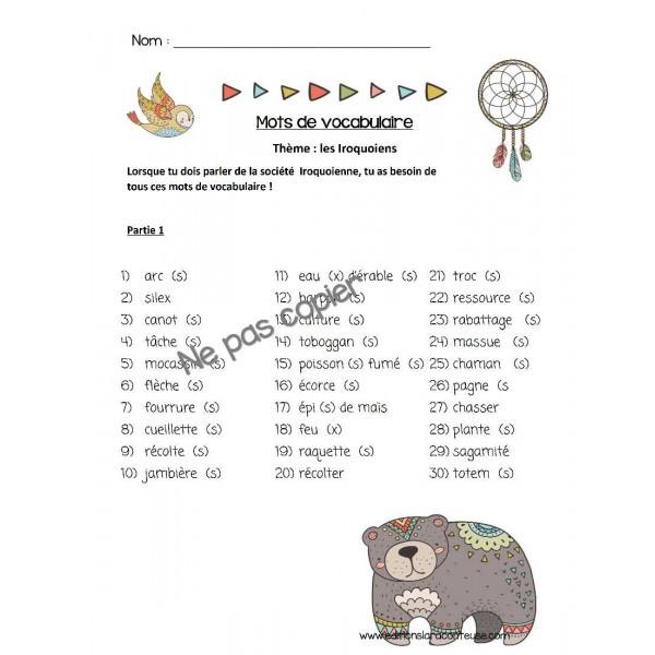 Mots de vocabulaire Iroquoien 1500
