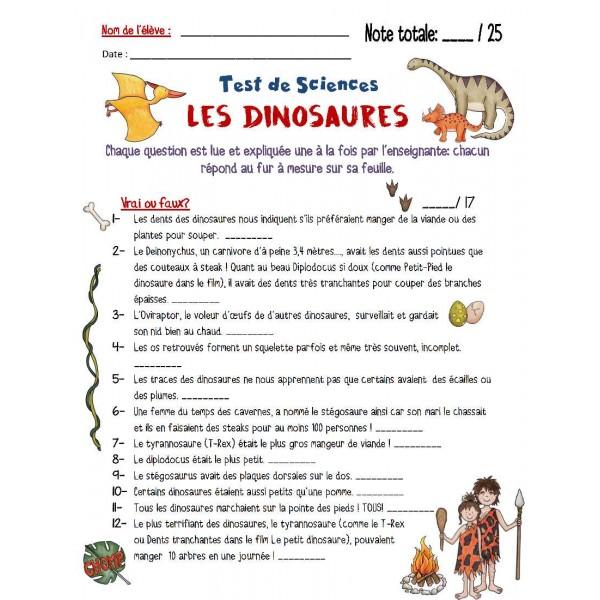 Test sur les dinosaures ! Sciences