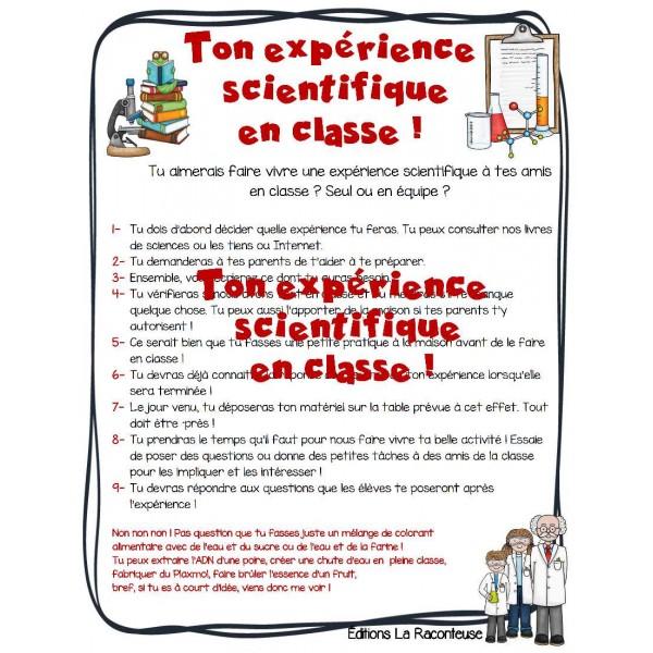 Rentrée: fais ton expérience scienti.  en classe