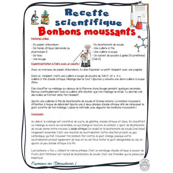Recette scientifique: Bonbon moussant