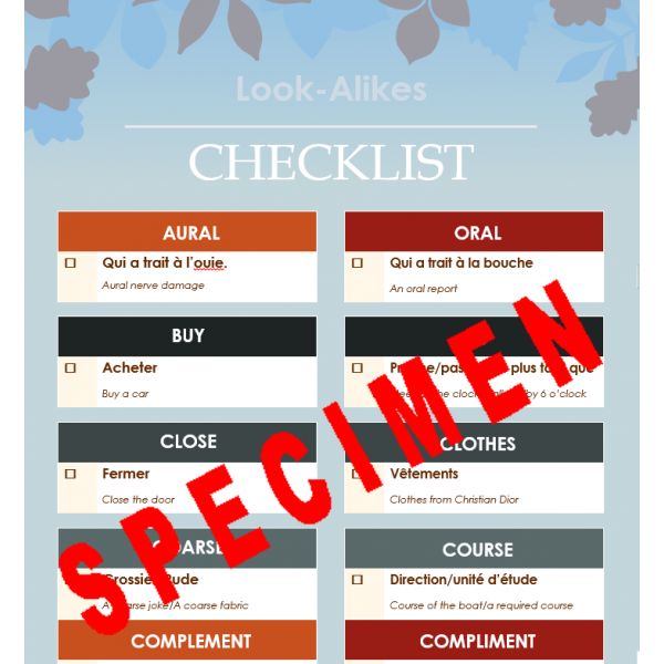 Look-Alikes 1 checklist