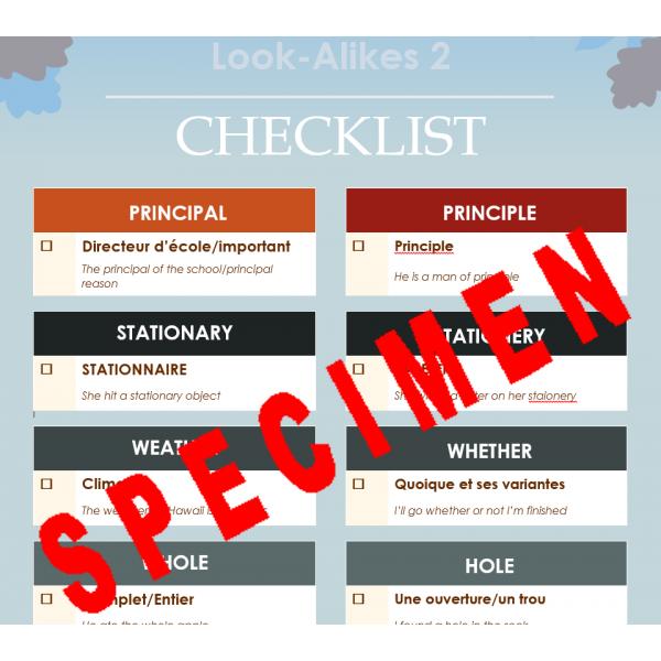 Look-Alikes 2 checklist