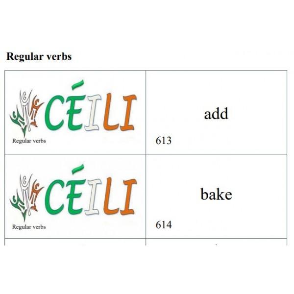 Verbes réguliers anglais A à Z.  II