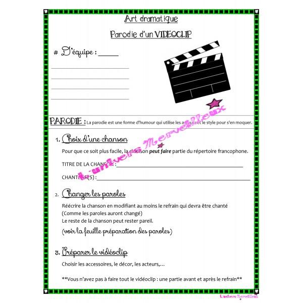 Art dramatique-Projet d'une parodie d'un vidéoclip