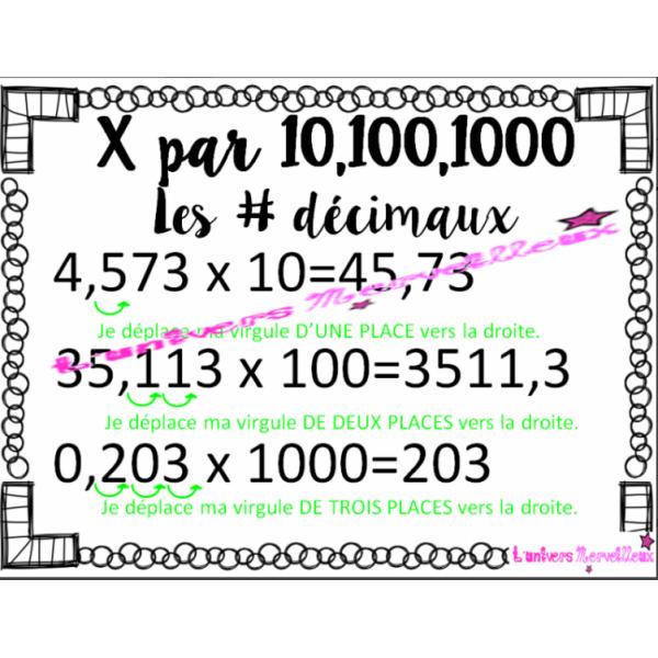 Affiche #4 décimaux- x 10,100, 1000