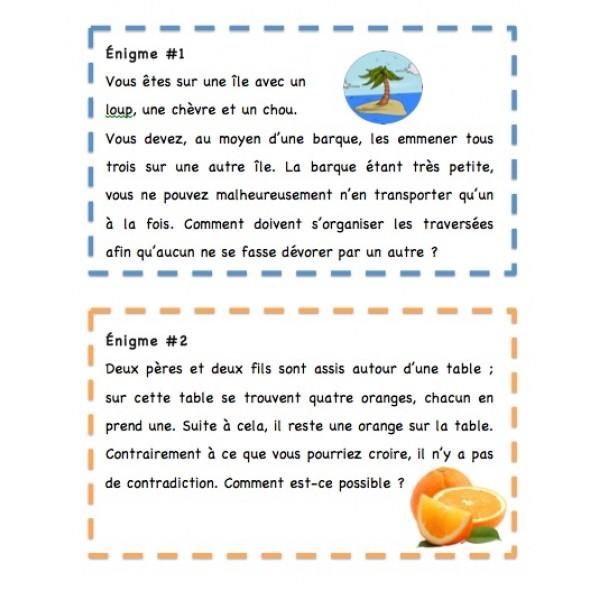 Cartes d'énigmes -3e cycle