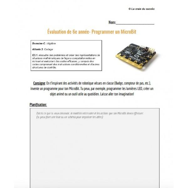 Évaluation- Programmer un MicroBit