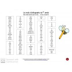 Liste orthographique- 1re année