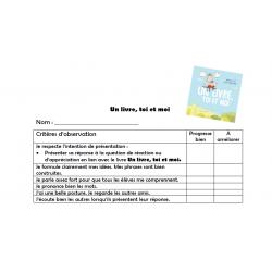 Communication orale- Un livre, toi et moi
