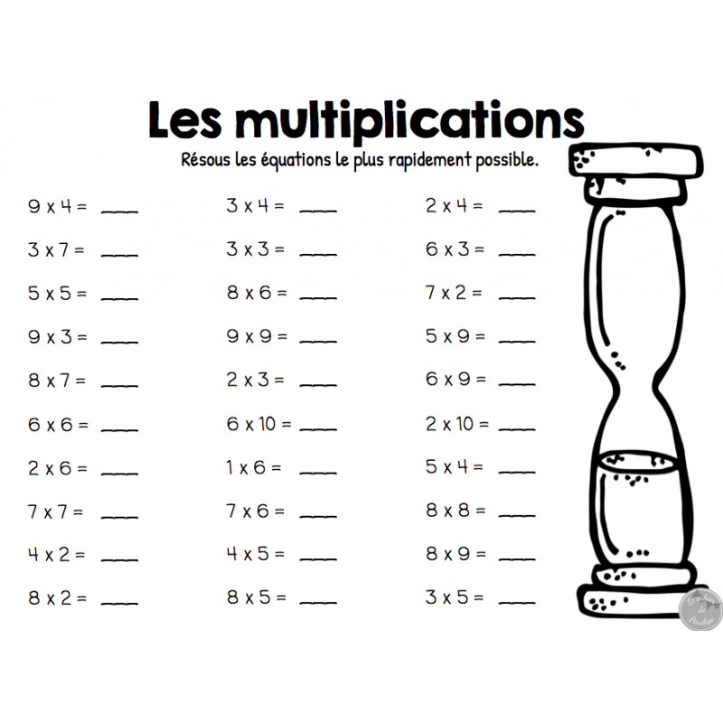 Ensemble sur les multiplications - Apprentissage des tables de multiplication ...