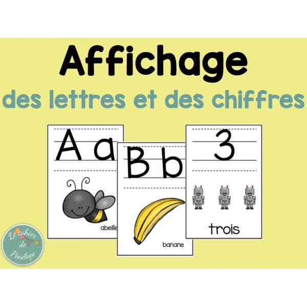 Affichage lettres de l'alphabet et chiffres